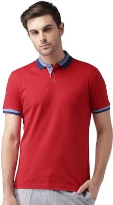 Invictus Solid Men's Polo Neck Red T-Shirt