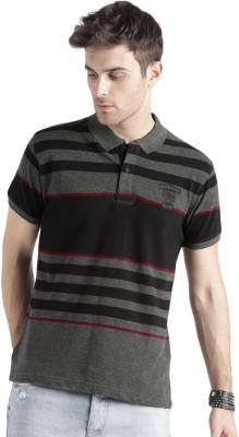 Roadster Striped Men's Polo Neck Black, Grey T-Shirt