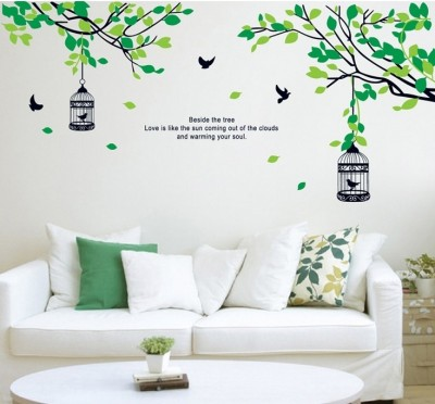 Oren Empower Birdcage with Decorative Flower Branch Large Wall Sticker (Finished size on wall - 155(w) x 70(h) cm)(90 cm X cm 60, Green)