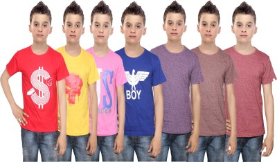 Indistar Boys Printed Cotton T Shirt(Multicolor, Pack of 7)