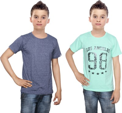 Indistar Boys Printed Cotton T Shirt(Multicolor, Pack of 2)