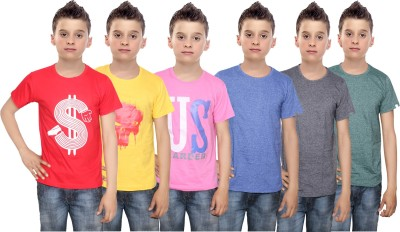 Indistar Boys Printed Cotton T Shirt(Multicolor, Pack of 6)