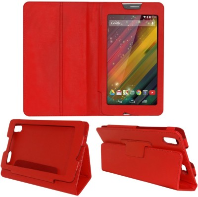ACM Book Cover for Hp Voicetab 7(Red, Artificial Leather)