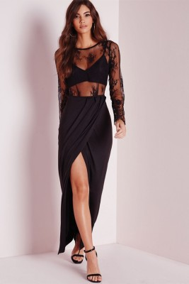 RadhaKripa black lace maxi dress Poster Paper Print(18 inch X 12 inch, Rolled)  available at flipkart for Rs.249