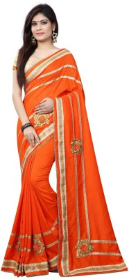 Avsar Prints Self Design, Solid, Embroidered Paithani Pure Chiffon Saree(Orange)  available at flipkart for Rs.899