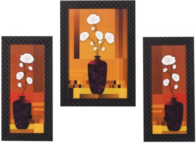 Smile2u Retailers Floral Desing Taxtured UV Canvas Framed SO3 Wall Painting Canvas Painting(14 inch x 24 inch)  available at flipkart for Rs.429