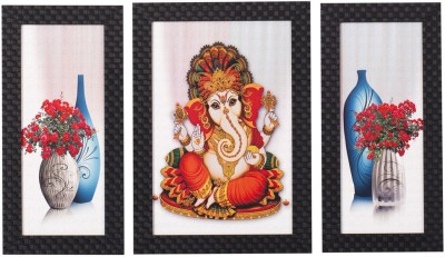 Smile2u Retailers Ganesha Desing Taxtured UV Canvas Framed SO3 Wall Painting Canvas Painting(14 inch x 24 inch)  available at flipkart for Rs.429