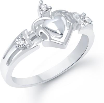 VK Jewels ILU Heart Alloy Cubic Zirconia Rhodium Plated Ring