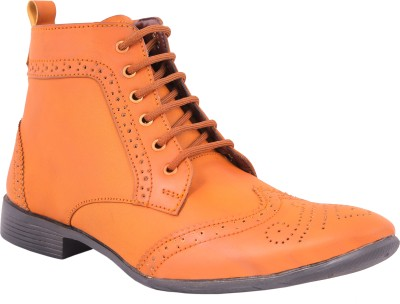 World Walker Formal Full Brogue High ankle Shoes Lace Up For Men(Tan)