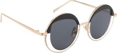 Aislin Round, Cat-eye Sunglasses(Black) at flipkart