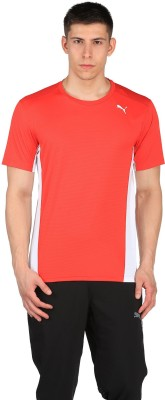 Puma Solid Men Round Neck Red, Black T-Shirt at flipkart
