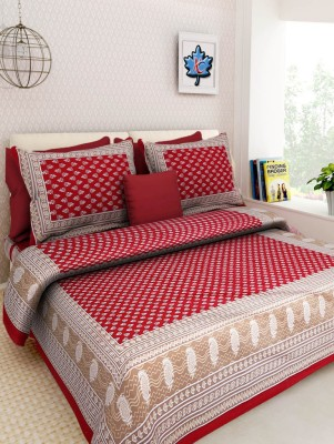 Bombay Cotton 210 TC Cotton Double King Printed Bedsheet(Pack of 1, Multicolor) at flipkart