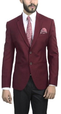 ManQ Solid Single Breasted Wedding, Formal Men's Blazer(Red)