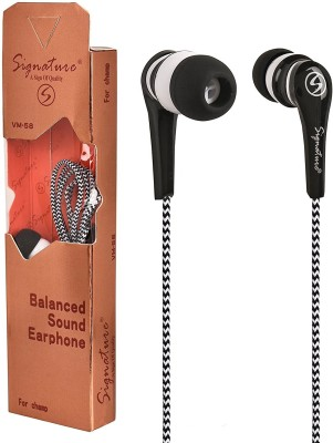 Signature VM-58 Headset with Mic(Black, In the Ear)  available at flipkart for Rs.196