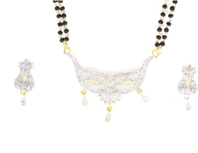 Sitaara Jewels Alloy, Metal Jewel Set(White, Gold)