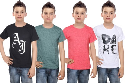 Indistar Boys Printed Cotton T Shirt(Multicolor, Pack of 4)