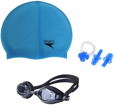 e2a20435c0 NOVICZ Swimming Goggle Cap Ear Nose Plug Combo Swim Glass Head Hair ...