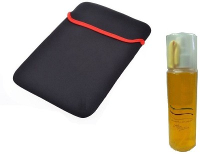 Techvik 15.6  Inch Strechtable Laptop Carry Sleeve And LCD, LED Screen Cleaner With Mini Cleanig Cloth Combo Set