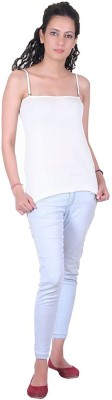 iShop Casual Noodle strap, Sleeveless Solid Women White Top
