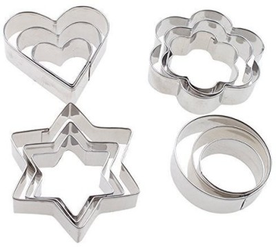 Fumes Stainless Steal Heart, Round, Flower, Star Shape Cookie Cutter(Pack of 12) at flipkart