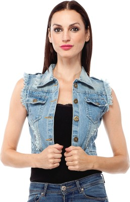 Clo Clu Sleeveless Solid Women's Denim Denim Jacket