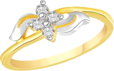 VK Jewels Shine of Love Alloy Cubic Zirconia 18K Yellow Gold Plated Ring