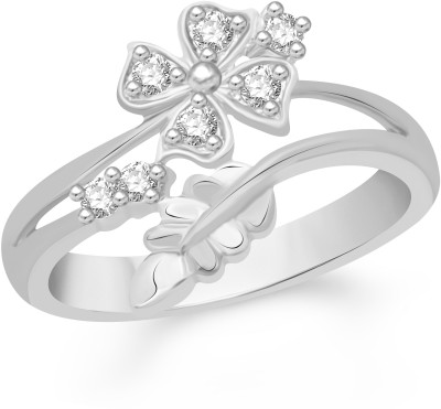 VK Jewels Divine Love Dual Heart Shape Alloy Cubic Zirconia Yellow Gold Plated Ring