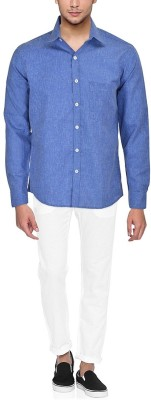 Dude Men's Solid Casual Linen Blue Shirt  available at flipkart for Rs.365