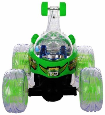 Shanti Enterprises Ben 10 R/C Stunt Car With LED Light(Green) at flipkart