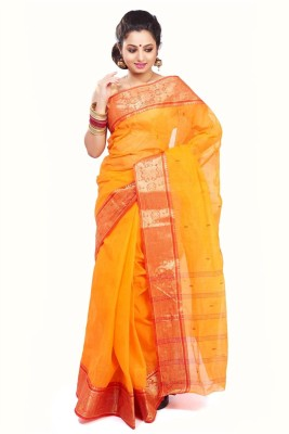 Subhadra Embroidered Tant Handloom Cotton Blend Saree(Yellow, Red) at flipkart