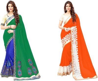 G-Stuff Fashion Embroidered Fashion Georgette Saree(Pack of 2, Green, Orange)