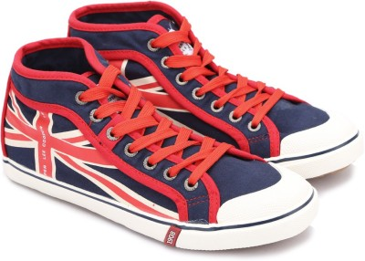 Lee Cooper Canvas Mid Ankle Sneakers(Navy, Red) at flipkart