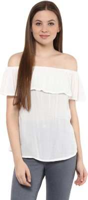 MAYRA Party Short Sleeve Solid Women White Top MAYRA Women's Tops