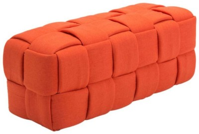 Black Square Engineered Wood 2 Seater(Finish Color - Orange)