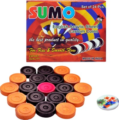 SRC STC WOODEN CARROM COINS 3 cm Carrom Board(Multicolor)  available at flipkart for Rs.196