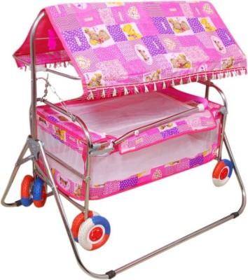 Baby Love Pink Baby Cradle Cum Cot Cum Stroller Bassinet(Pink) Bassinet(Multicolor)