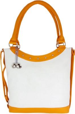 Anglopanglo Women White, Yellow PU Hand-held Bag at flipkart