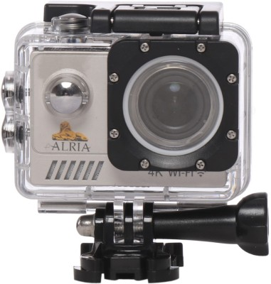 View Alria 16MP Ultra HD 4K WIFI Sports Action Camera with Sony IMX 179 Lens Waterproof Dvr Multipurpose Camcorder 170 Degree / 30m Wide Angle 2 inch LCD Screen/ Rechargeable Battery, Full Accessories Mounting Kits included Sports and Action Camera(Gold 16 MP) Price Online(Alria)