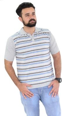 Oldberri Striped Men's Polo Neck Grey, Blue T-Shirt