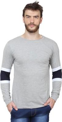 SayItLoud Solid Men Round Neck Blue, Grey T Shirt
