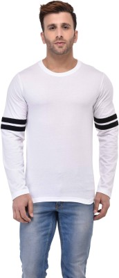 Belleza Solid Men's Round Neck White, Black T-Shirt