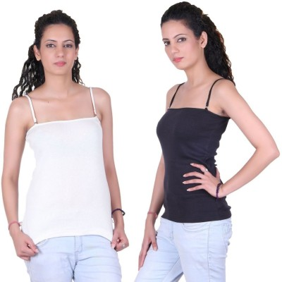 iShop Casual Sleeveless Solid Women Black, White Top