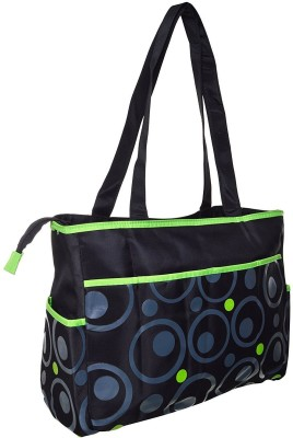 Baby Bucket Round Print Changing Backpack Diaper Bag Black