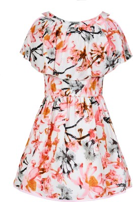 Naughty Ninos Girls Midi/Knee Length Party Dress(Beige, Sleeveless)