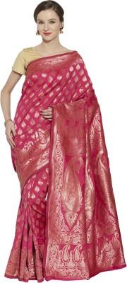Style U Self Design, Woven Banarasi Handloom Jacquard, Poly Silk Saree(Orange)