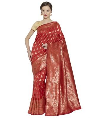 Style U Self Design, Woven Banarasi Handloom Jacquard, Poly Silk Saree(Red)