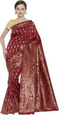 Style U Self Design, Woven Banarasi Handloom Jacquard, Poly Silk Saree(Maroon)