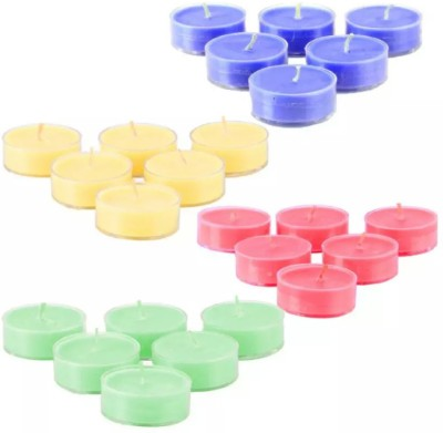 madhulica Madhulica Candles Multi colour Tea Light Candles Pack of 24pcs Candle(Yellow, Pink, Blue, Green, Pack of 24)