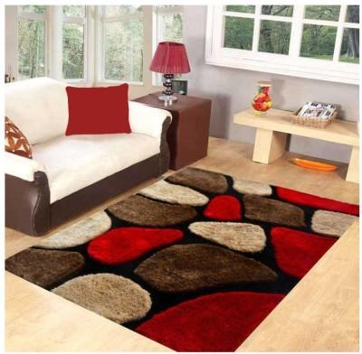 ville style Red Polyester Carpet(120 cm  X 180 cm) at flipkart