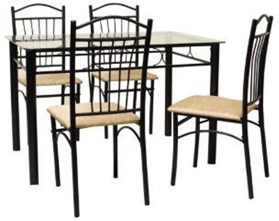 FurnitureKraft Rome Glass 4 Seater Dining Set(Finish Color - Black)